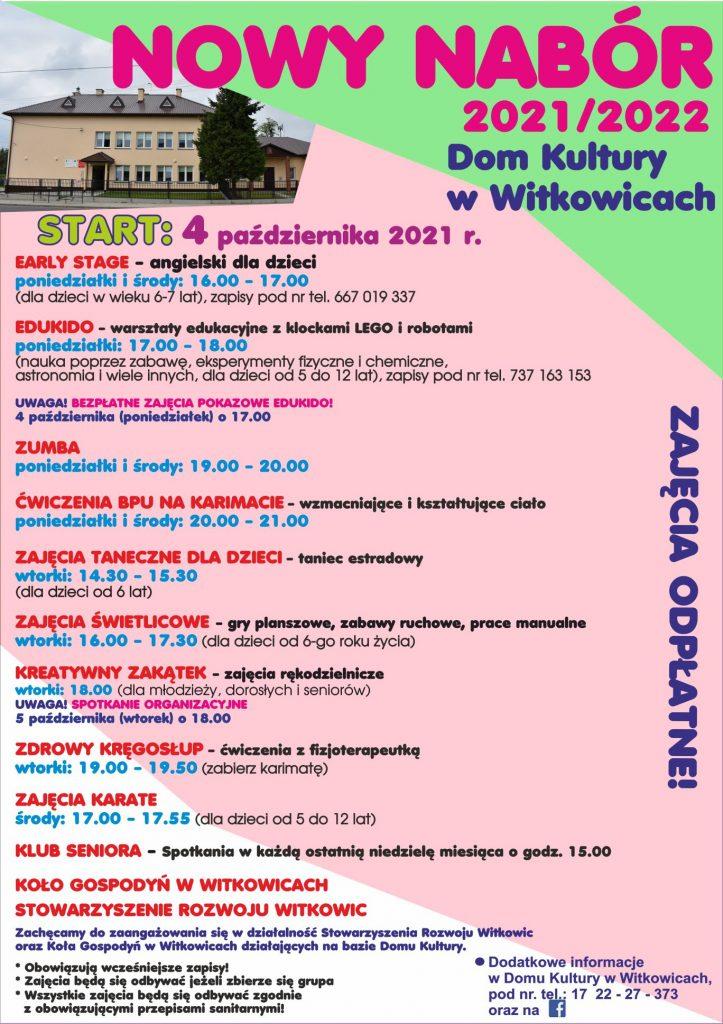 Zapraszamy na zajęcia do Witkowic